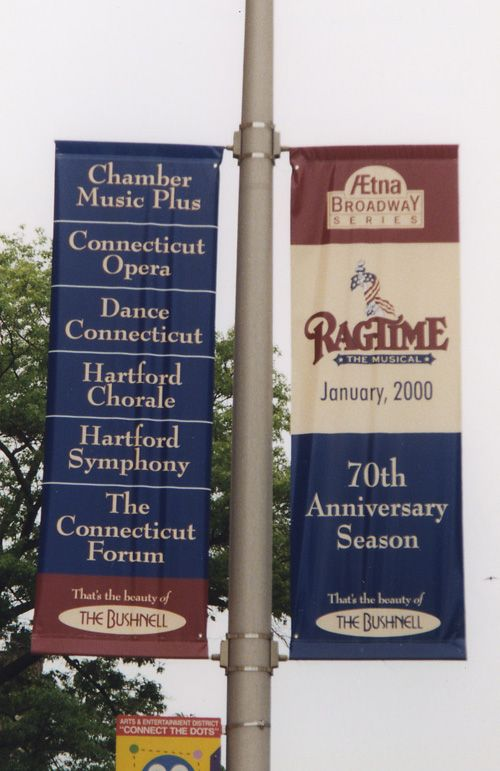 Light Pole Avenue / Street Banners, 2.5 ft. x 8 ft., Double Faced, Printed Graphics on Vinyl Banner Material