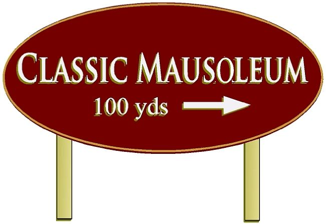 GC16270 - Carved 2.5-D High-Density-Urethane (HDU) Mausoleum Directional Post-and-Panel Sign, with Aluminum Posts