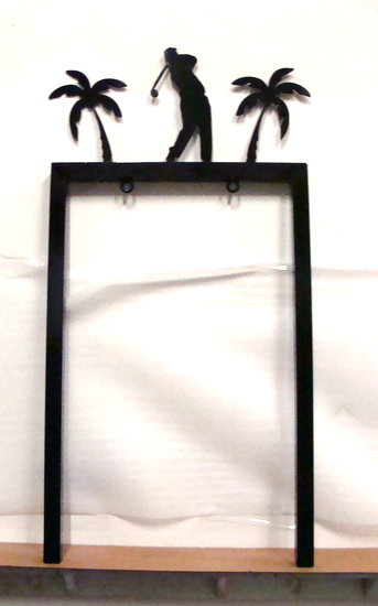R14823 - Cast Aluminum Two-Post Sign Hanger with 3D Golfer and Palm Trees