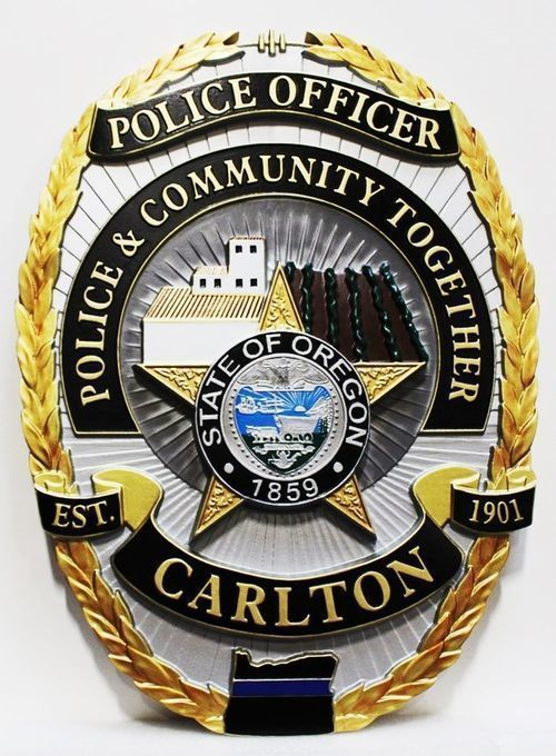 X33588 - Carved 3-D HDU Plaque of the Badgeof the Police Department of Carlton, Oregon