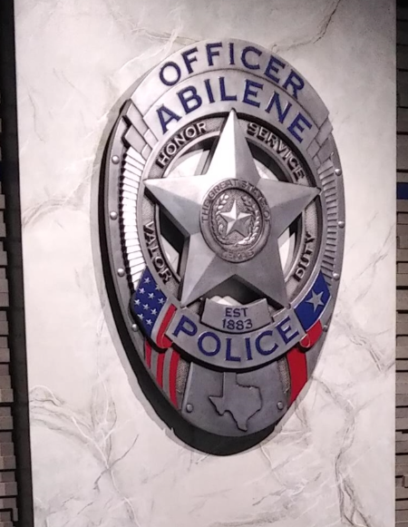 PP-1130 - Carved Wall Plaque of the Police  Badge of  Abilene Texas, Aluminum Plated with Hand-Rubbed Black Paint and Artist-Painted Colored Paint