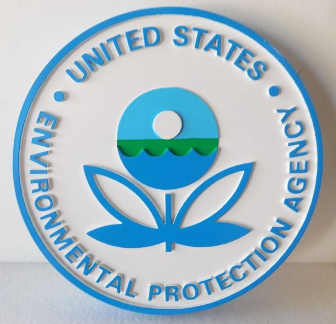 AP-6160- Carved Plaque of the  Seal of the  Environmental Protection Agency (EPA),  Artist Painted