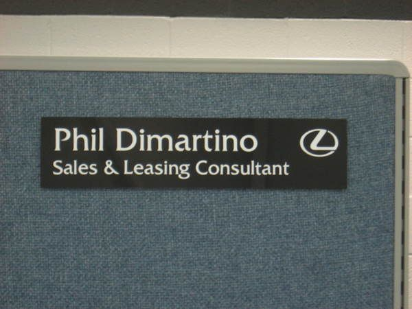 Interior Office Space Cubicle Nameplate, Engraved Laminate with Logo