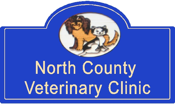 BB11740 – Sandblasted Redwood Veterinary Clinic Sign with Images of Smiling Dog and Cat