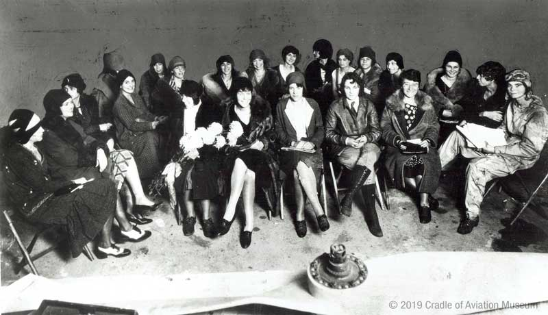Ninety-Nines Organization of Women Pilots, first meeting, 11-02-1929 Curtiss Field, Valley Stream, L.I. (Cradle of Aviation Museum)