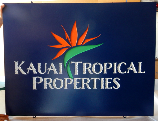 "S28086 - Colorful Engraved Sign for ""Kaui Tropical Properties"" with Bird of Paradise Logo"