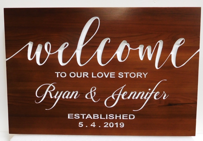 "YP-1070 - Plaque ""welcome to Our Love Story"", Engraved  Mahogany"