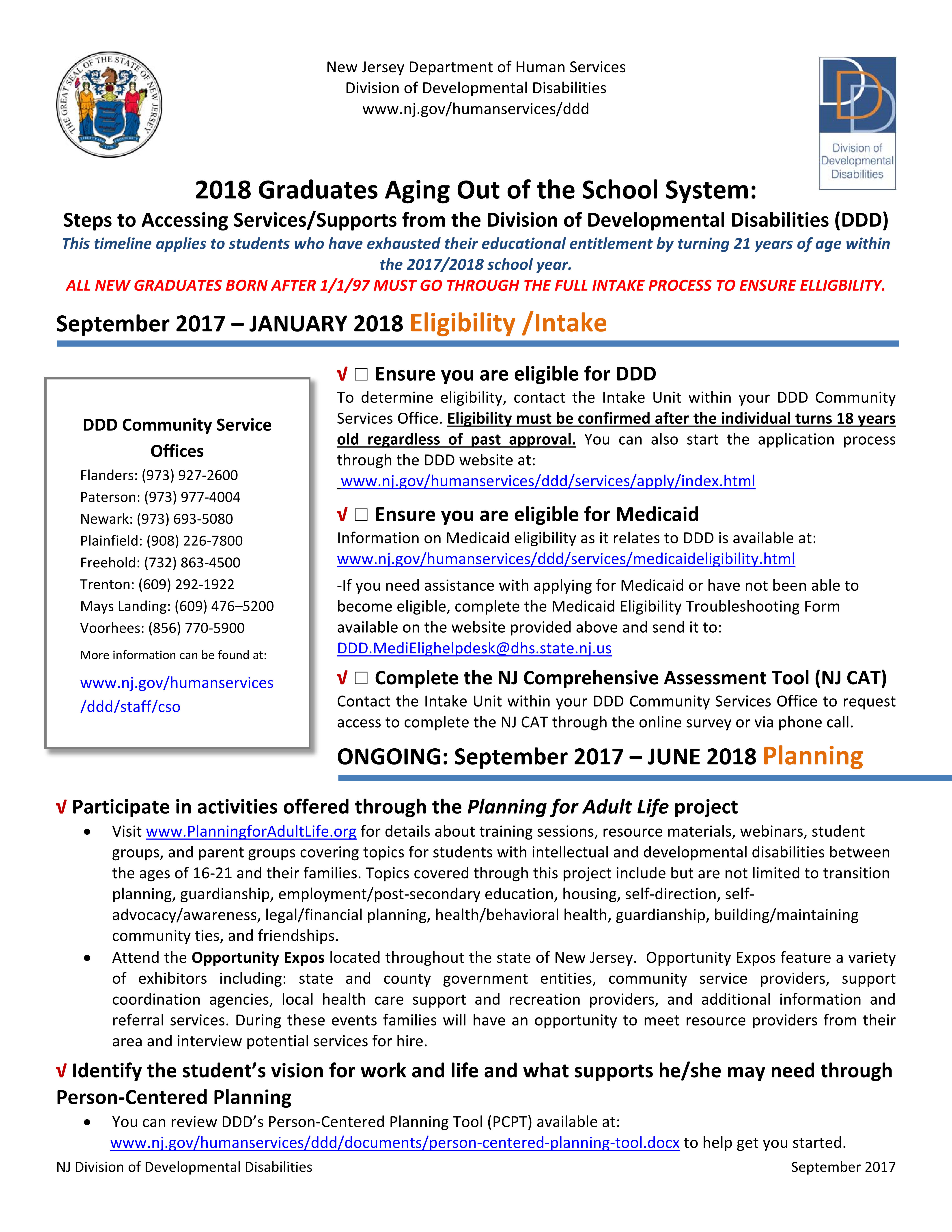 2018 Timeline: Graduates Aging Out of the School System