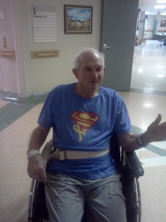 """One of Sammy's favorite people, Great Grandpa Lampe-- He is recovering from a recent stroke at Mercy Medical Center in Sioux City. As Sammy would say, """"We yuv Gampy Yampe."""""""