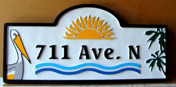 L21623 – Carved and Sandblasted 2.5-D HDU Coastal Residence Address Sign, with Pelican, Palms, and Sun.