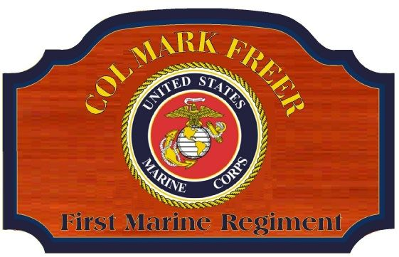 KP-3090 -  Carved Personalized Plaque for Colonel,  US Marine Corps,  Mahogany Wood with Painted Emblem