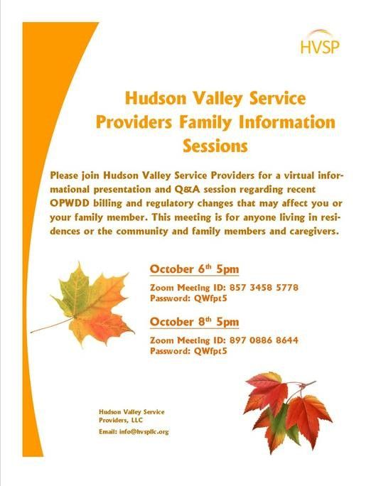 Hudson Valley Service Providers Family Information Sessions Scheduled