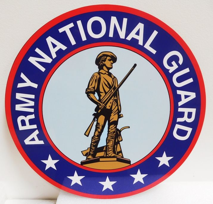 MP-1319- Carved Plaque of the Seal  of the US Army National Guard,  Artist Painted