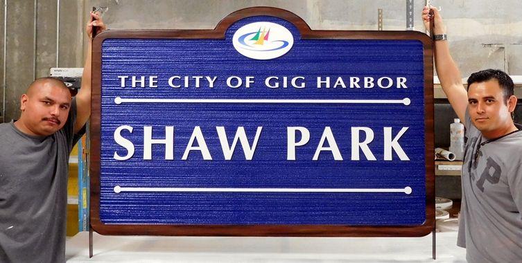 GA16424 - Woodgrain Pattern HDU Sign for City Harbor Park with Sailboat Art