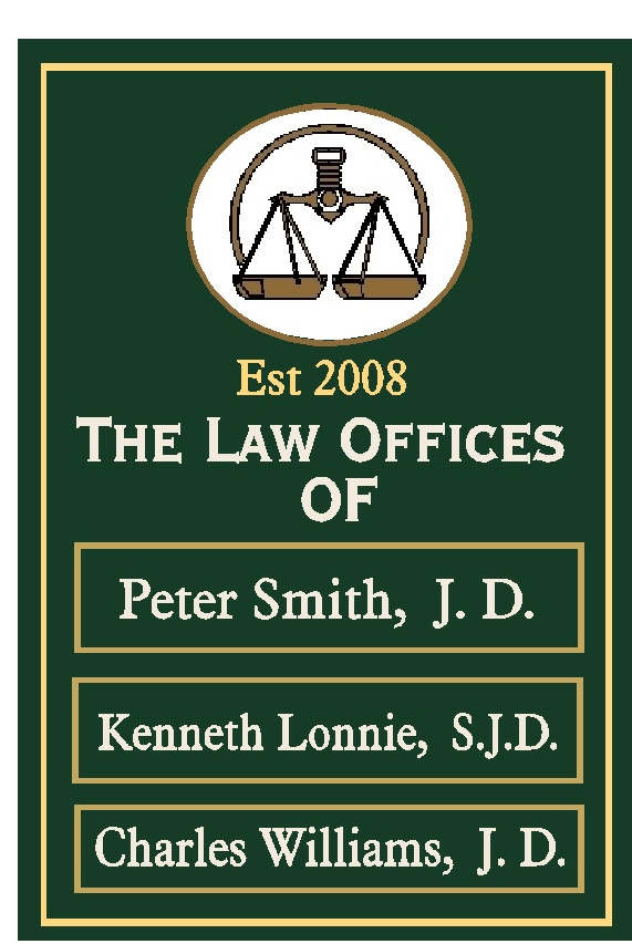A10513 - Attorney Office Directory Name Sign, with Changeable Nameplates