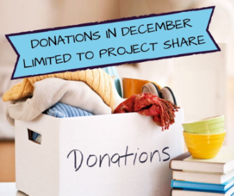 Donations in December Limited to Project Share