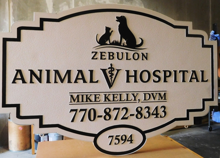 BB11758 - Carved  Entrance sign for the Zebulon Animal Hospital, with Profiles of a Dog and Cat