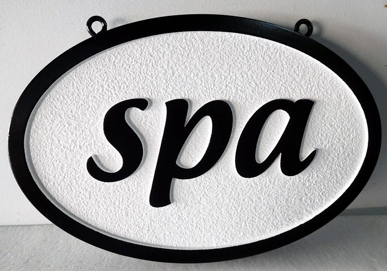 GB16135 - Carved and Sandblasted Sandstone Texture HDU Sign for a Spa