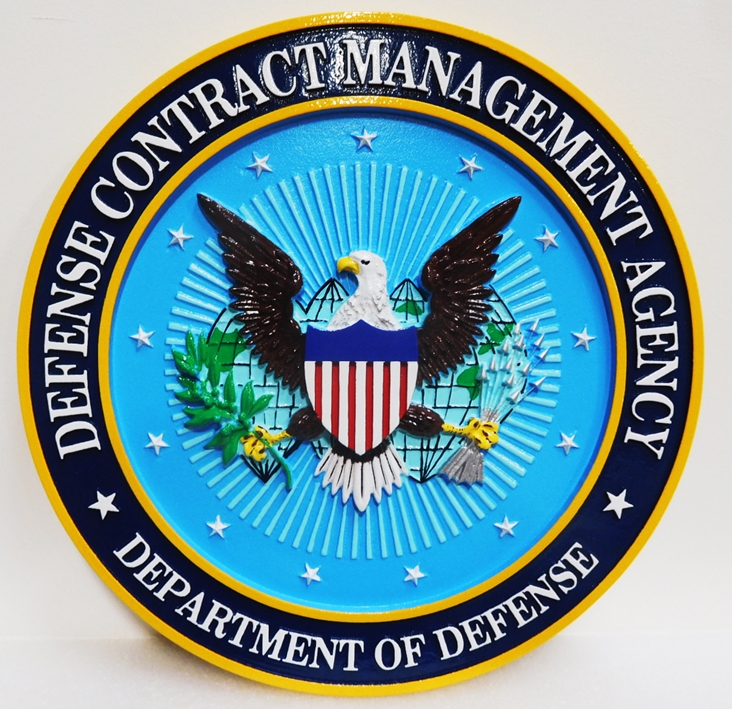 IP-1728 - Carved Plaque of the Seal of the Defense Contract Management Agency, 3-D Artist-Painted