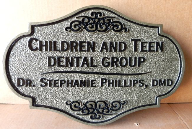BA11586- Sandblasted Sandstone-Texture HDU Sign for Children and Teen Dental Office