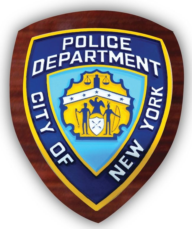 EA-2105-  Shoulder Patch of Police Department of the City of New York City Police Department (NYPD)  on Mahogany Plaque
