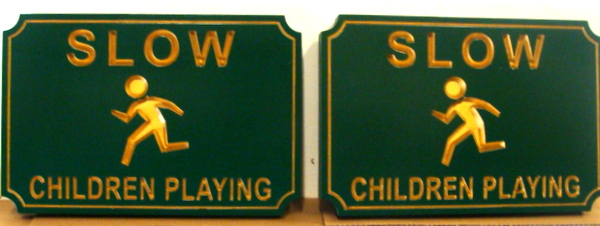 H17221 - Slow Children Playing Carved Signs