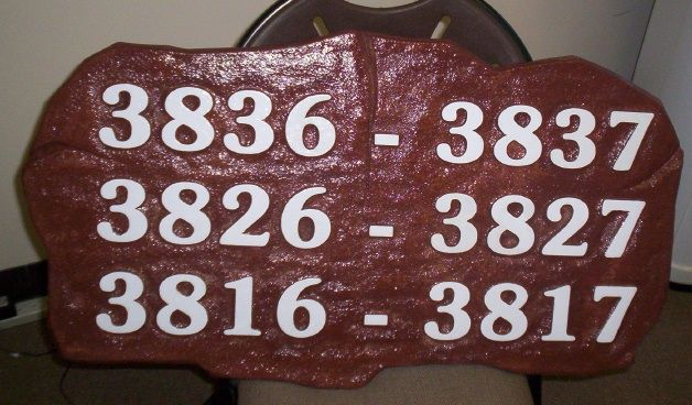 T29201 - Carved  Rustic Rock-Shaped Sign with  Room Numbers for the Lawrence Welk Resort in San Diego