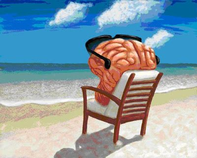 This is a picture of a brain lounging at the beach