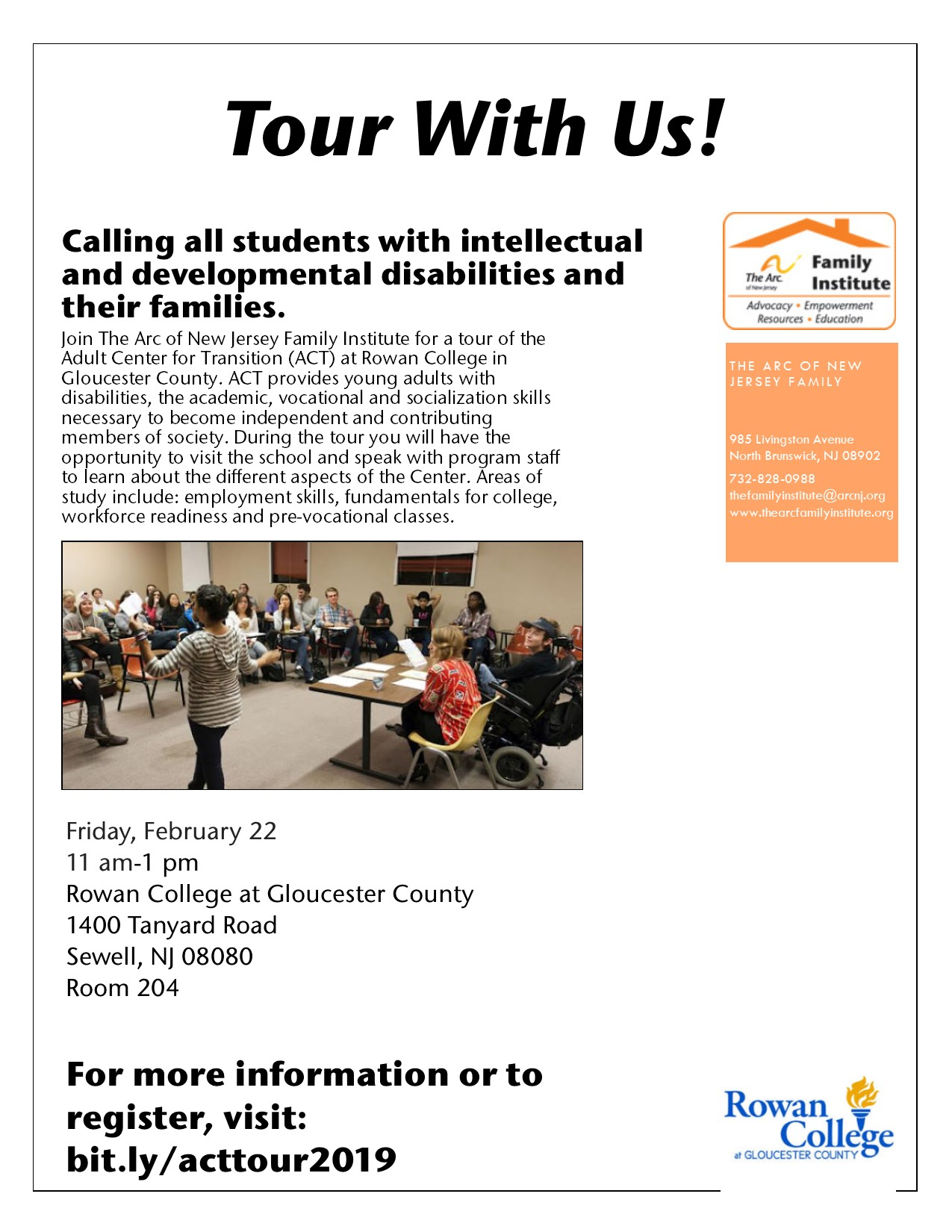 Friday, February 22 - Adult Center for Transition (ACT) at Rowan College in Gloucester County