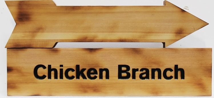 "H17093 - Carved Cedar Wood Name Sign for ""Chicken Branch"", with Scorched Edges"