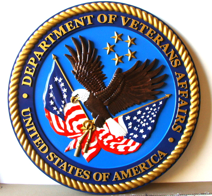 U30281 - 3-D Carved Wooden Wall Plaque of the Seal of the Department of Veteran's Affairs