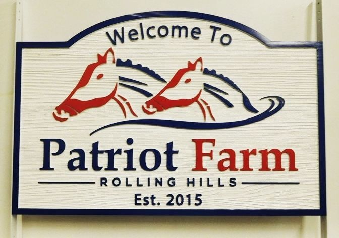 P25167 - Carved, painted Horse Farm Sign with Carved Horse Head Artwork