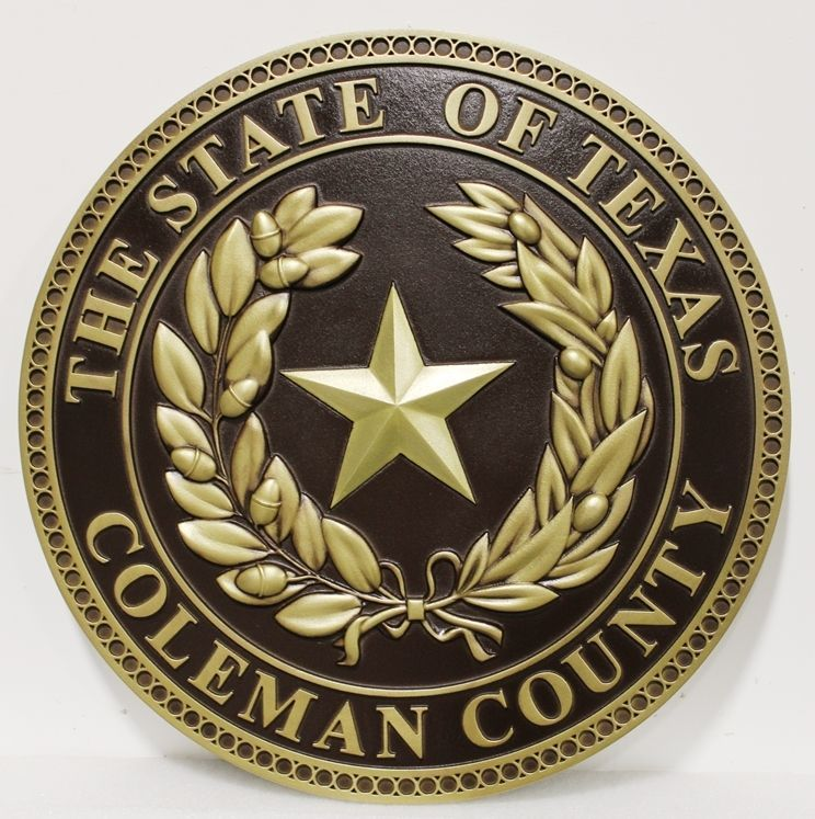 CP-1088 - Carved 3-D HDU Plaque of the Seal of Coleman County, Texas