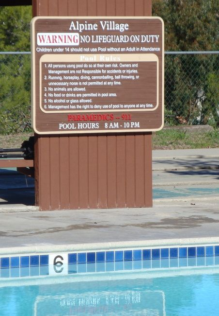 """KA20823 -  Carved Wood Grain  HDU Sign for Apartment Complex Swimming Pool, """"Warning No Lifeguard on Duty"""""""