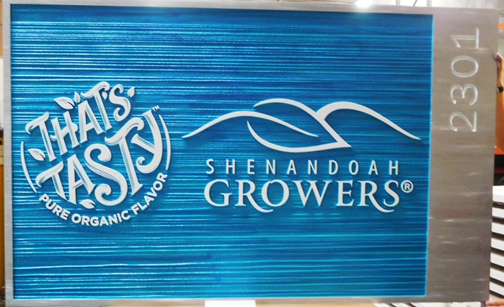 "Q25658 - Carved and Sandblasted Sign for ""Shenadoah Growers"" , with Raised Text , Border and Stylized Leaf Logo as Artwork"