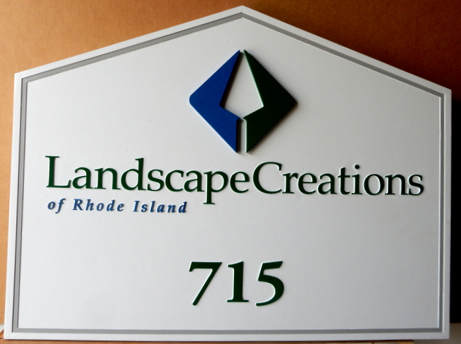 """SA28780 - Carved HDU Sign (Wood Avail.) for """"Landscape Creations of Rhode Island"""" Landscaping Company"""