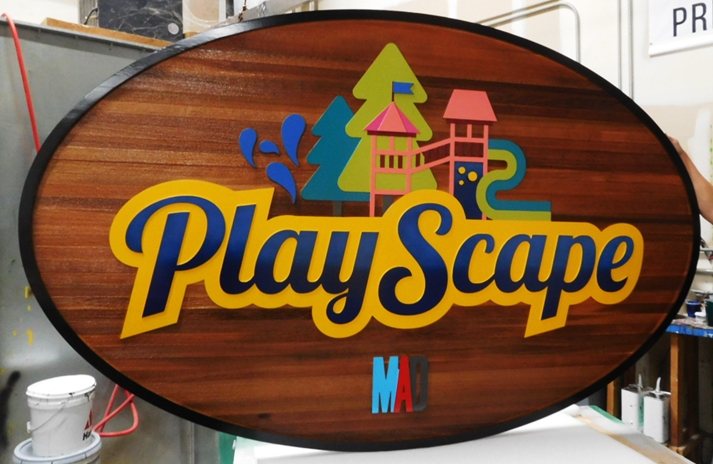 GA16457 - Large Carved Redwood  Entrance Sign for PlayScape, with a Children's Play Structure and Trees as Artwork