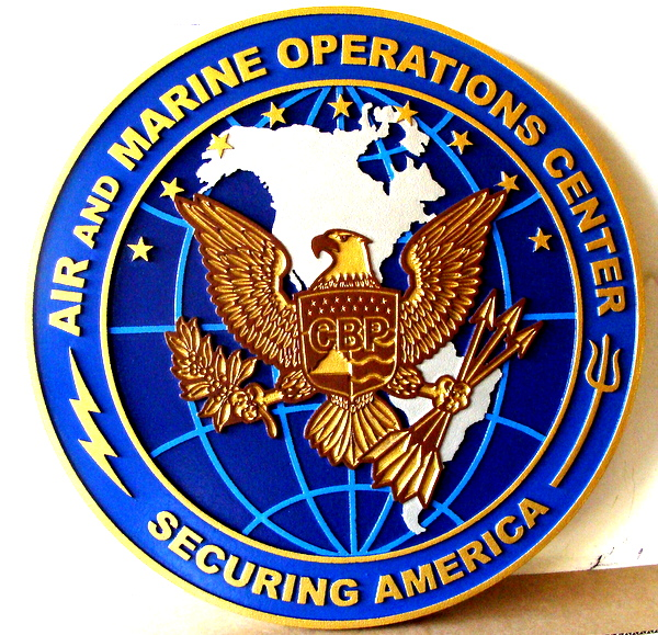 LP-1820 - Carved Plaque of the Seal of the Air & Marine Operations Center, Artist Painted