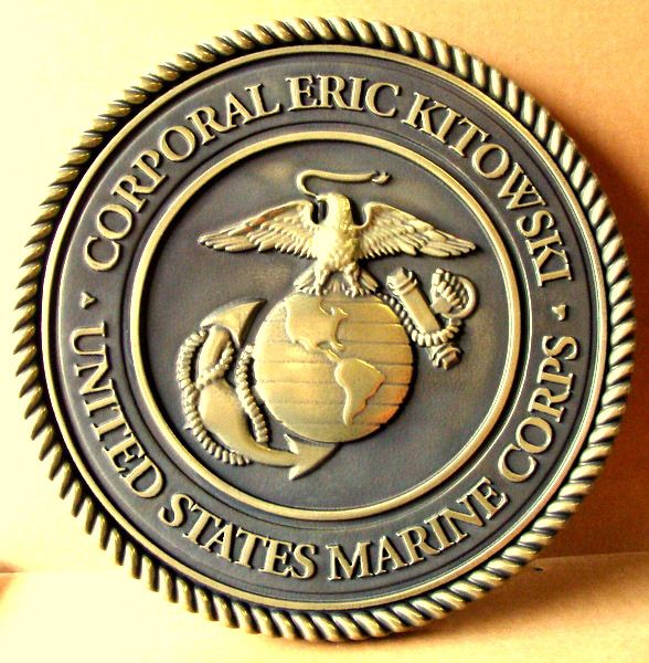 M7153 - Personalized Bas-Relief 3-D Bronze Wall Plaque with the Seal of the US Marine Corps