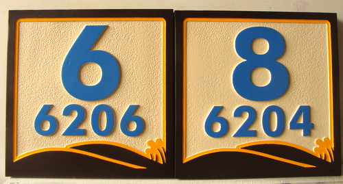 KA20893 - Carved 2.5D Apartment Number Plaques