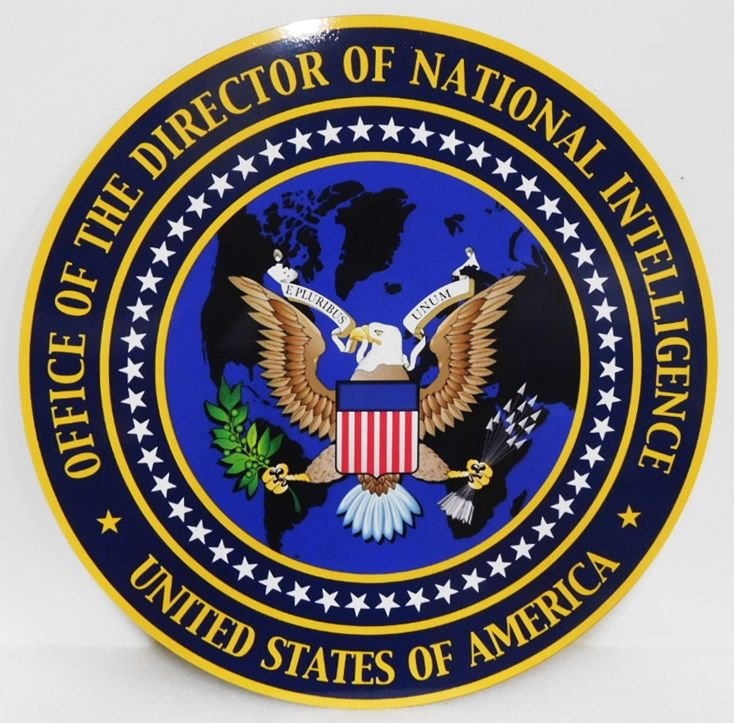 IP-1340 -  Carved Plaque of the Seal of the Office of the Director of National Intelligence, USA, Artist Painted