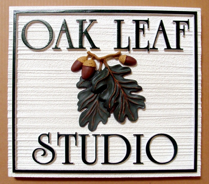 SA28418 - Sandblasted Wood-Look Studio Sign with 3D Carving of Oak Leaves and Acorns