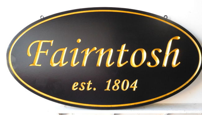 "I18108 -  Engraved HDU Property Name Sign ""Fairntosh"", with 24K Gold-Leafed Tex"