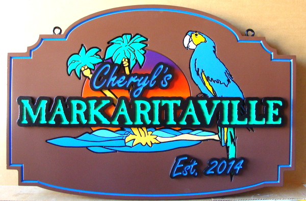 L21917 - Carved 2.5D HDU Coastal Home  Sign, with a Tropical Parrot, Palm Trees, and Setting Sun