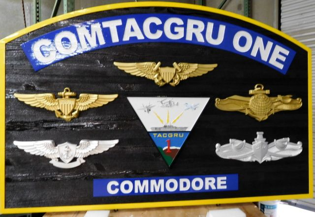 V31257 - Carved Cedar Headquarters/Commanding Officer Building Identification Sign for the COMTACGRU ONE Command