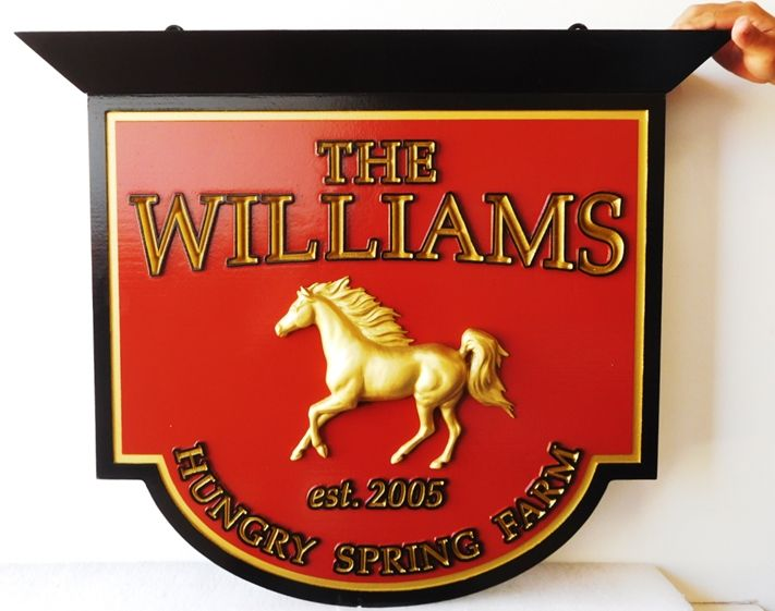"""P25061 - Elegant Carved Entrance Sign for the """"The Williams Hungry Spring Farm"""", with 3-D Arabian Stallion Gilded with 24k Gold Leaf"""