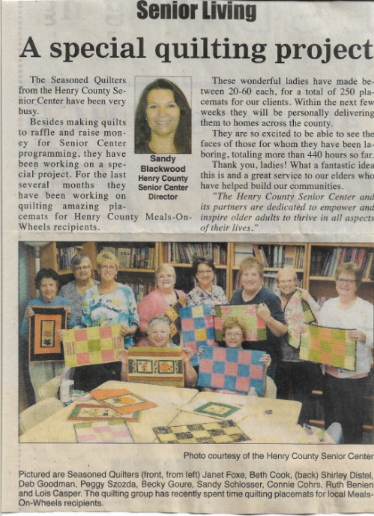 Seasoned Quilters make placemats for our Meals on Wheels clients