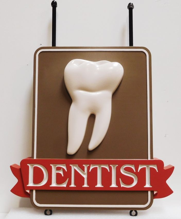 BA11521 - Carved HDU  Hanging  Sign for a Dental Office, with a 3D Carved Molar and Engraved Text on a Ribbon, Artist-Painted