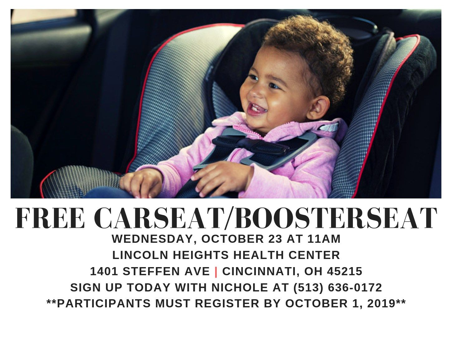 Get a Free Car Seat / Booster Seat!* (Register by October 1, 2019)