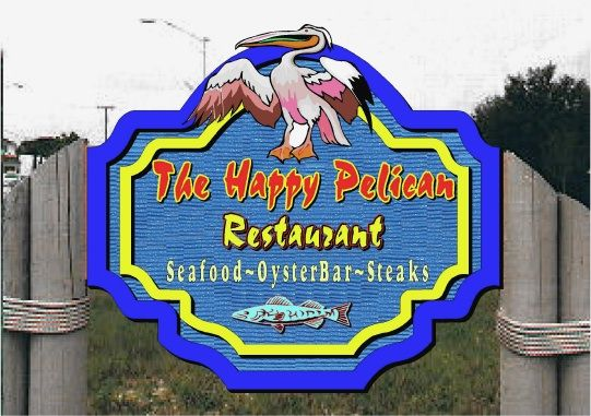 "Q25130 - Design of Carved Wood Look Restaurant Sign ""Happy Pelican Seafood, Steaks, Oyster Bar,"" with Carved Pelican and Fish"